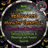 Genotype and Phenotype Punnett Square Worksheets with Halloween Monsters
