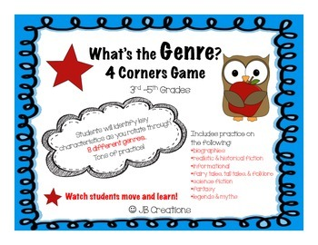 Genre 4 Corners Game (3rd, 4th, 5th grades)