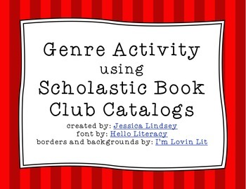 Genre Activities Using Scholastic Book Club Catalogs