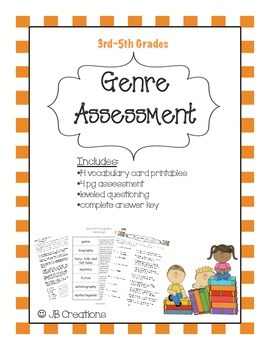 Genre Assessment & Vocabulary (3rd, 4th, 5th grades)
