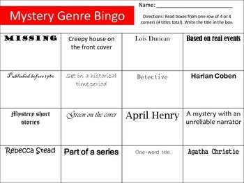 Genre Bingo Card: Mystery