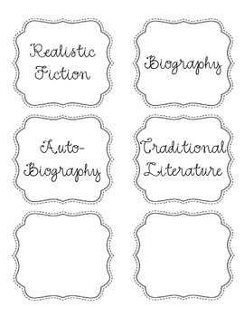 Genre Book Bin Labels