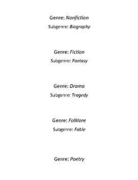 Genre Book Title Slips