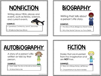 Genre Anchor Charts, Notebook Cards, Study Guide and Test