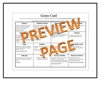 Genre Card: A Guided Reading Tool