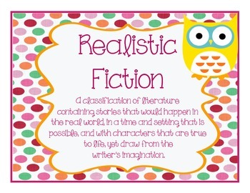 Genre Classroom Bulletin Board Posters Polka Dot and Owl Themed