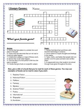 genre crossword by becky hunter teachers pay teachers. Black Bedroom Furniture Sets. Home Design Ideas