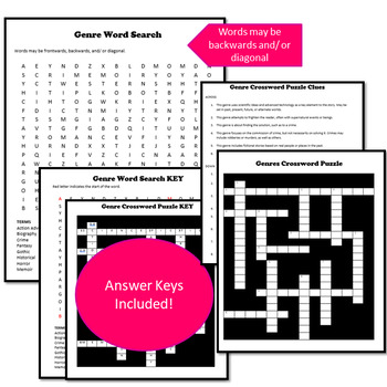 Genre Crossword Puzzle and Word Search