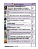 Genre: Fantasy Fiction book list and bookmark