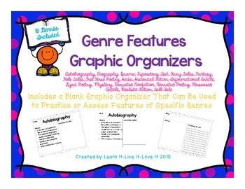 Genre Graphic Organizers-Features of Genres