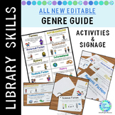 Library Skills: Literary Genre Guides Labels Signs Activities