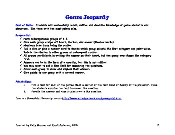 Genre Jeopardy Grade 3rd-8th