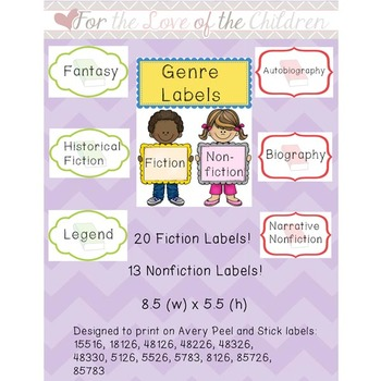Book Genre Label Avery Teaching Resources Teachers Pay Teachers