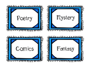 Genre Labels and Posters for Classroom Library