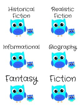 Genre Labels for Book Bins -- Blue Owls