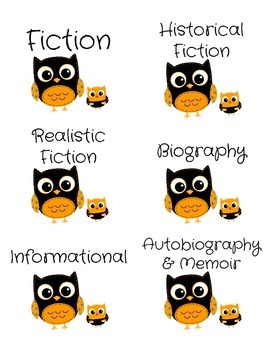 Genre Labels for Book Bins -- Orange Owls