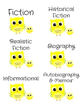 Genre Labels for Book Bins -- Yellow Owls