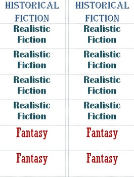 Genre Labels for Book Bins and Books - Editable