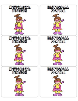 Genre Labels for Classroom Library - Superhero Themed - Back to School
