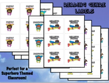 Genre Labels for Classroom Library - Superhero Themed - Ba