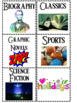 Reading Genre Library Labels sized for Target Square Adhesive Pockets
