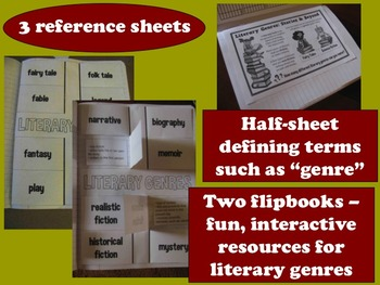 Genre Match - identifying literary genres ELA task cards + printables (set a)
