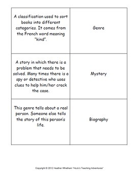 Genre Sort - Perfect for Literacy, Reading, or ELA Center Games