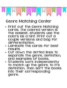 Genre Matching Center, Reading Center, Library Center