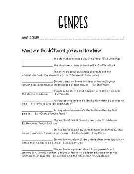 Genre Note taking Sheet