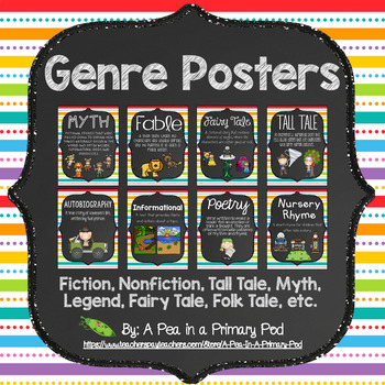 Genre Poster Set (Chalkboard and Rainbow Stripe 2)