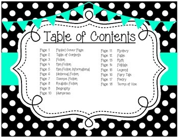 Genre Posters {15 Posters} Primary Grades, Polka Dots, Turquoise
