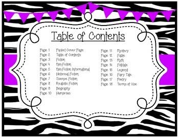 Genre Posters {15 Posters} Primary, Zebra Theme, Purple
