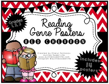 Genre Posters {15 posters} 1st, 2nd, 3rd Grade, Red Chevron