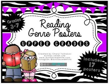 Genre Posters {17 Posters} 3rd, 4th, 5th, 6th, 7th Grade, Zebra Theme, Purple