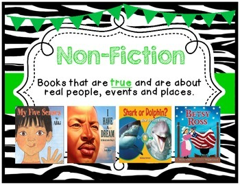 Genre Posters {17 Posters} K-2 Primary, Zebra Theme, Green
