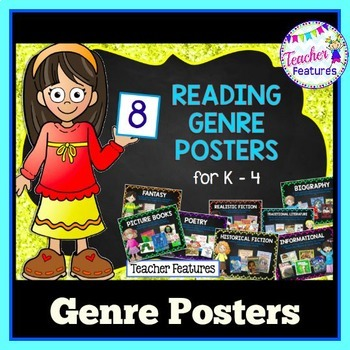 READING GENRE POSTERS Chalkboard Themed