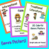 Genre Posters: 21 Printable Pages with Bright Polka Dots