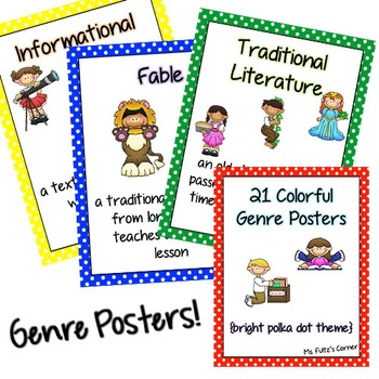 Genre Posters: 21 Printable Pages with Primary Polka Dots