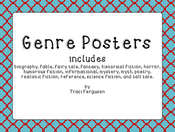Genre Posters - Aqua and Red Quatrefoil Border