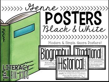 Genre Posters Black & White, Editable