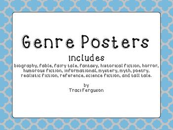 Genre Posters - Blue and Gray Quatrefoil