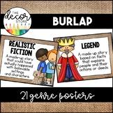 Genre Posters: Burlap   Classroom Decor