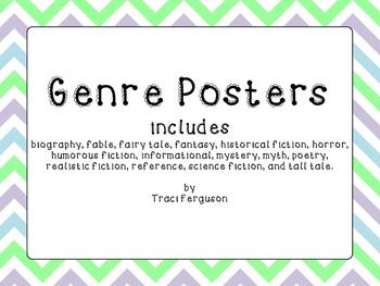 Genre Posters - Chevron Design (Green, Gray, Blue)