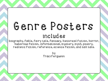 Genre Posters - Chevron Design (Green, Gray, Blue)