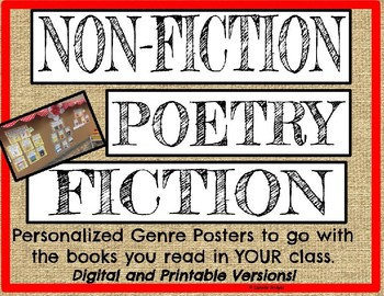 Genre Posters Digital, Editable, or Printable: Personalize w/YOUR books
