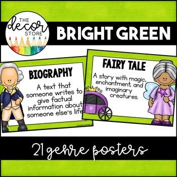 Genre Posters: Green   Classroom Decor