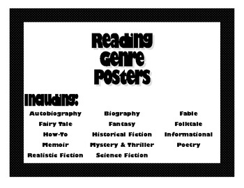 Genre Posters- Perfect for Upper Elementary & Middle School