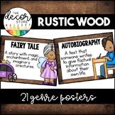 Genre Posters: Rustic Wood   Classroom Decor