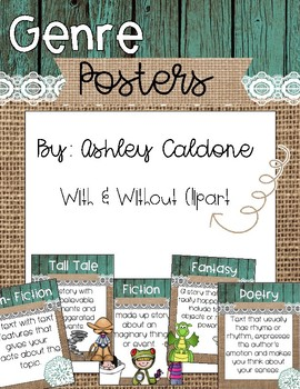 Genre Posters- Teal wood, Burlap, and Lace