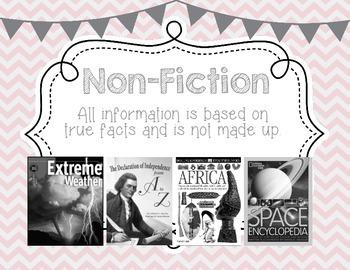 Genre Posters, Upper Grades, Pale Pink Chevron, Gray, Black & White Books